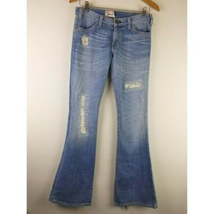 Current Elliott Flare Jeans 24 Destroyed Patches